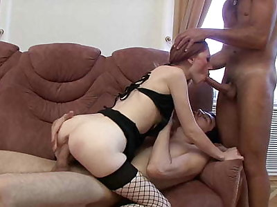 Slutty Redhead Avril Gets Her Tight Asshole Drilled By 2 Hard Dicks!