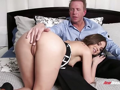 Charming gal rubs her clit as she keeps riding cock on top for joy