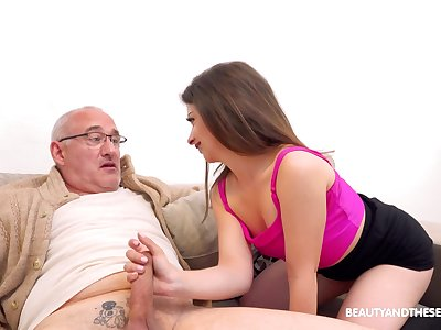 Sexy younger babe Mary Jane enjoys having sex with an older coxcomb