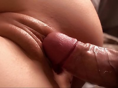 Beautiful Pussy was Gently Fucked and Smeared with Cum. Close-up