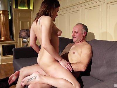 Teen babe Ally Breelsen loves riding an older mans dick