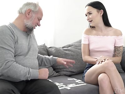 Teen babe Anita Bellini rides and swallows and older guy's cum
