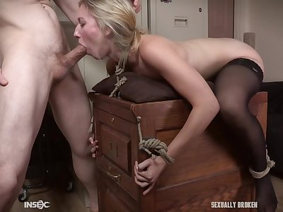 Teen secretary in stockings Riley Reyes force fed cock down her throat
