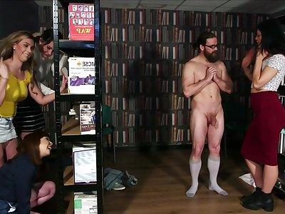 Library Ambush - cfnm group femdom orgy to facial cumshot