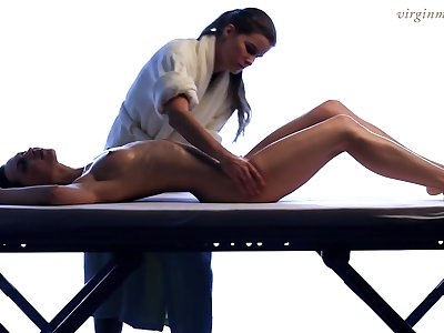 Lesbian masseuse enjoys touching beautiful young body be advisable for 18 yo virgin Vika