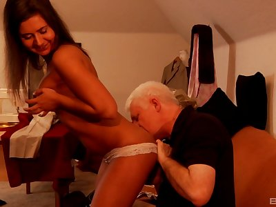 Russian babe Kaiya dicked outlander behind by a lucky mature dude