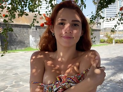 Young carve Agatha shows perky tits with respect to yummy pierced nipples