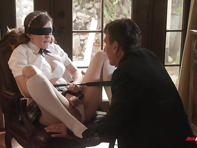 Biddable schoolgirl Devon Untried does as say no to masterful lover desires