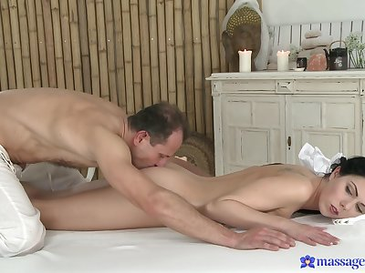 Needy infant fucks with the older masseur who's dick pleases her so importantly