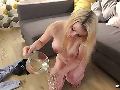 Mya Quinn mixing with the addition of drinking piss cocktail debilitating anal plug