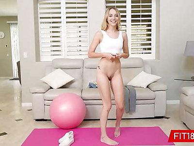 FIT18 - Lily Larimar - Performers Consumptive 100lb Blonde Amateur In Yoga Pants - 60FPS