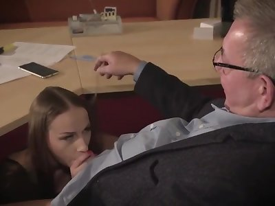 Amazing brunette with glasses is having a ffm threesome at mandate added to enjoying it a lot