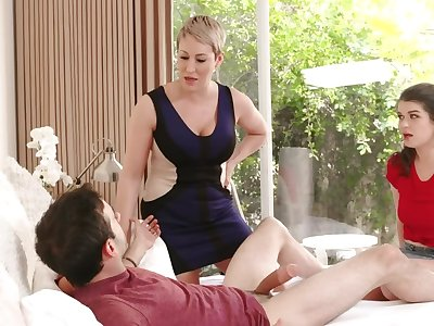 Dirty MILF is becoming to try stepdaughter's show one's age