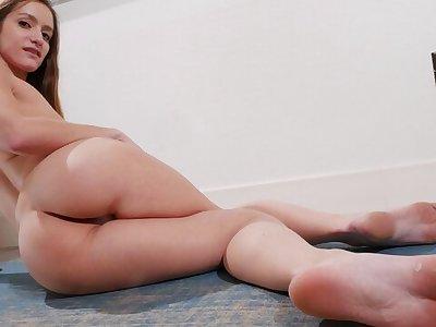 Skinny Teen Nadia Noja Learns Yoga, Stretches and Masturbates